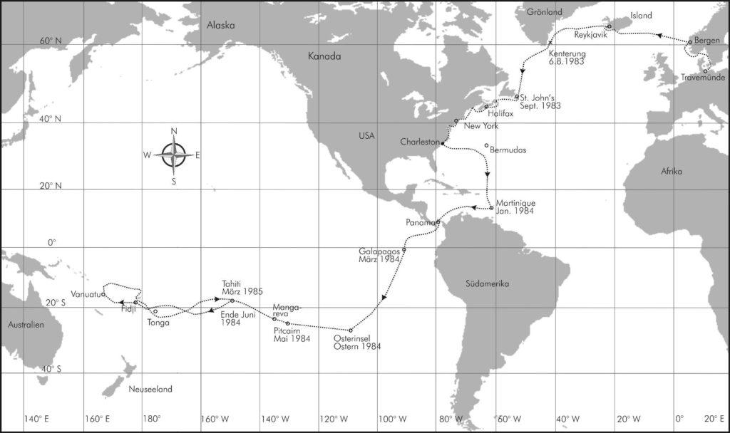 Eine Karte des Seewegs von Rollo und Angelika Gebhards Route aus dem Buch Leinen los