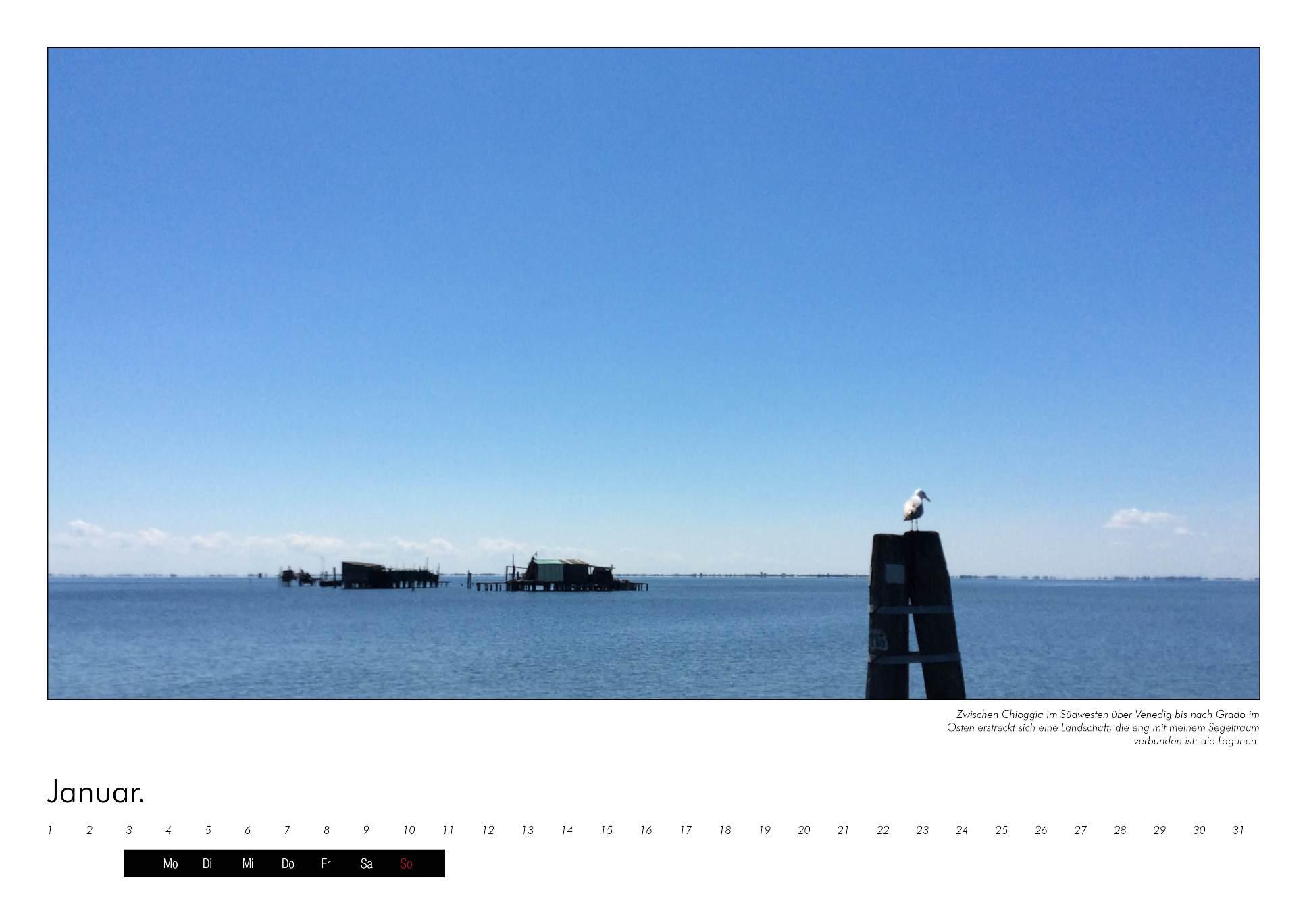 Bild des Meers vor den Lagunen Venedigs im immerwährenden Kalender