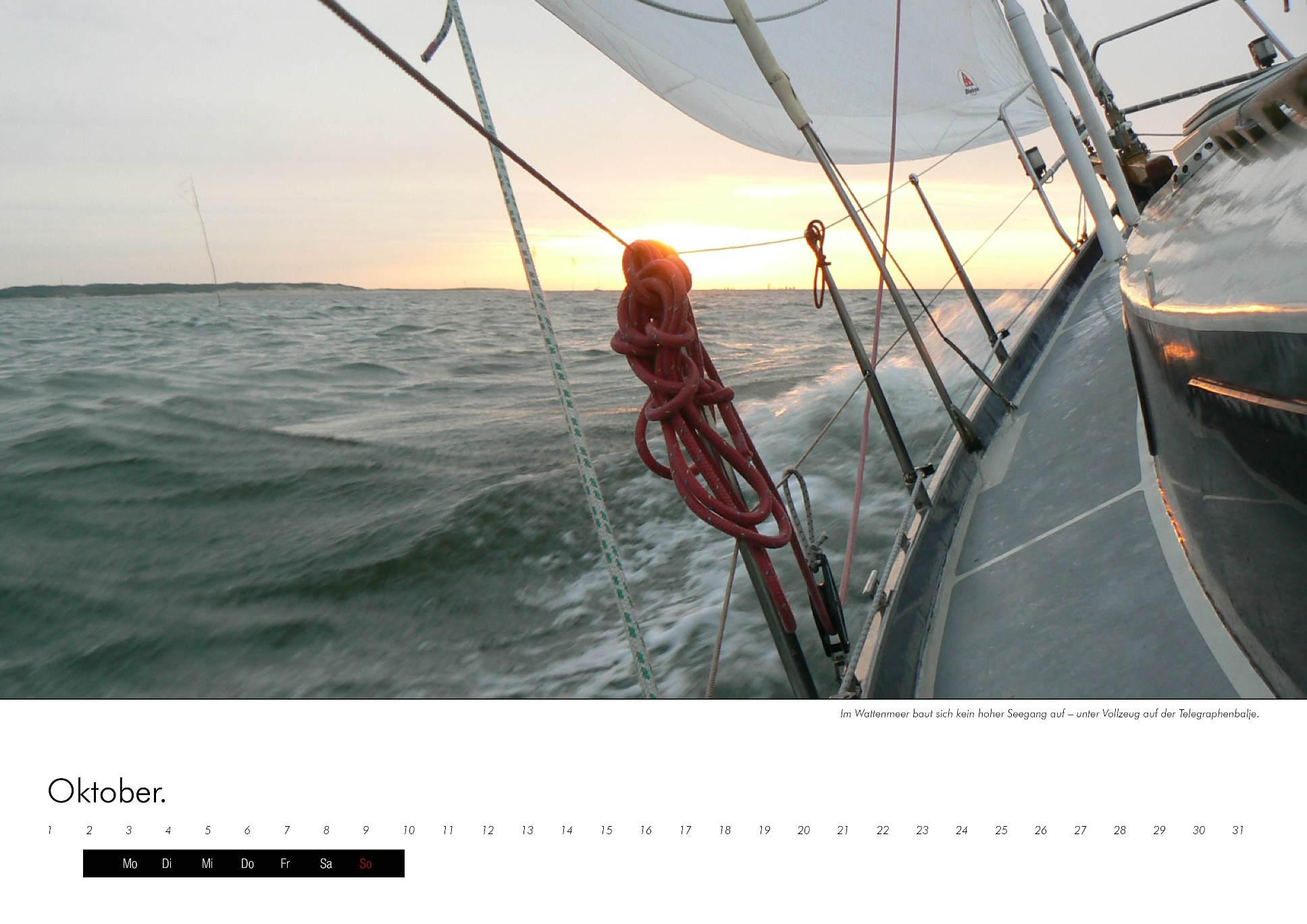 Kalenderbild eines Segelschiffs in der Nordsee, das Fahrt aufnimmt im immerwährenden Kalender
