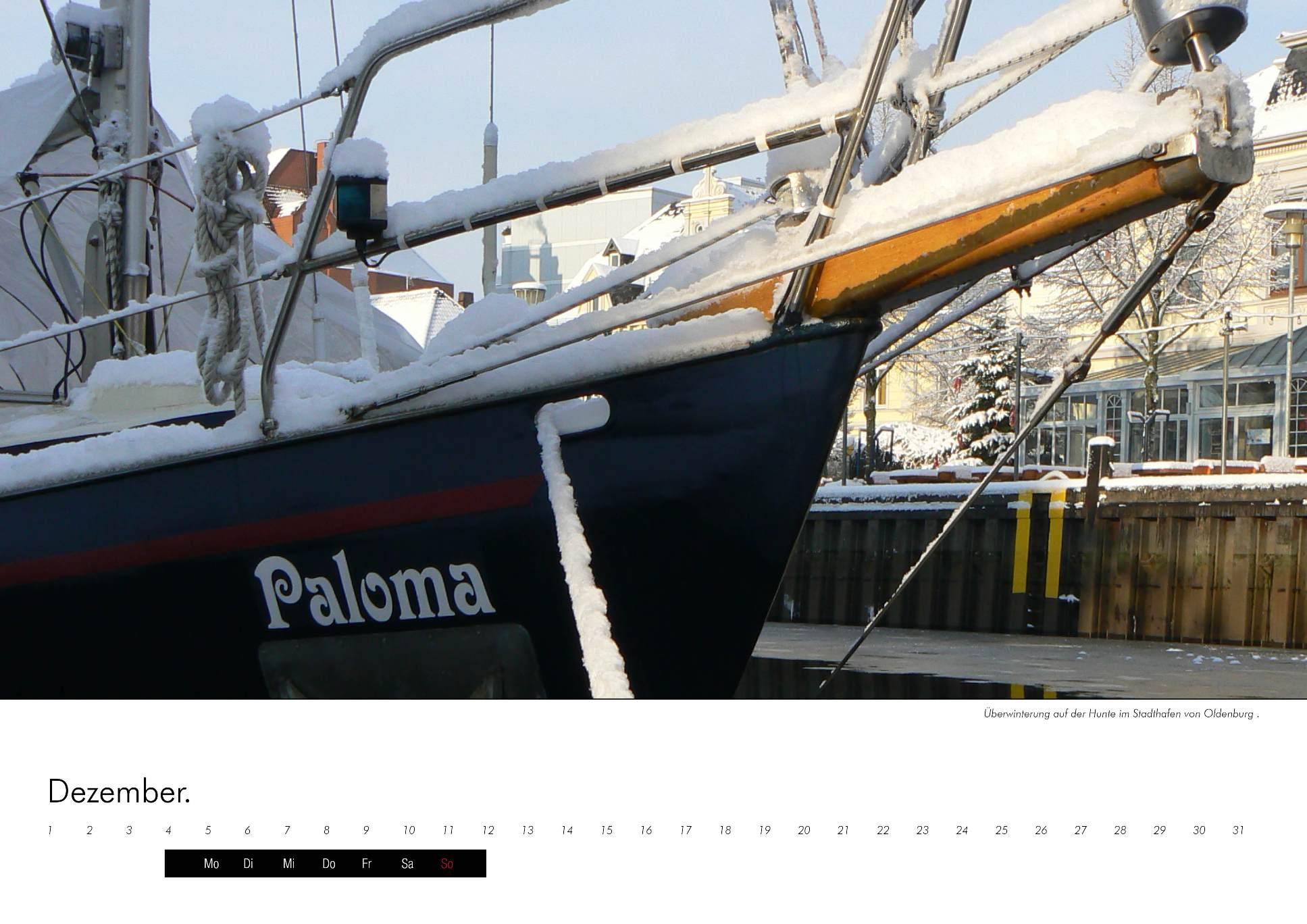 Kalenderbild des Segelschiffs Paloma im Winter - immerwährenden Kalender