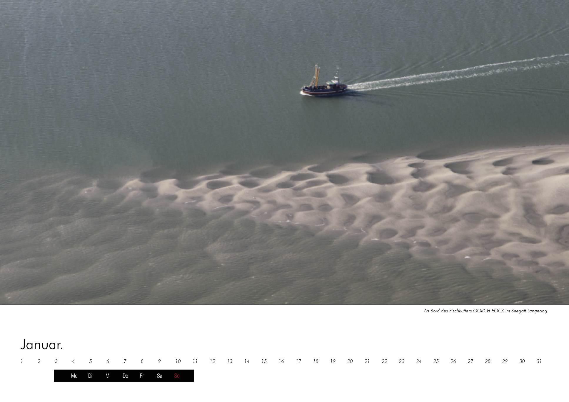 Kalenderbild des Fischkutters Gorch Fock im immerwährenden Kalender