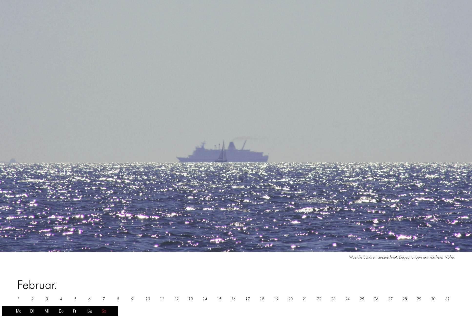 Kalenderbild einer Fähre auf offenem Meer vor Schweden im immerwährenden Kalender