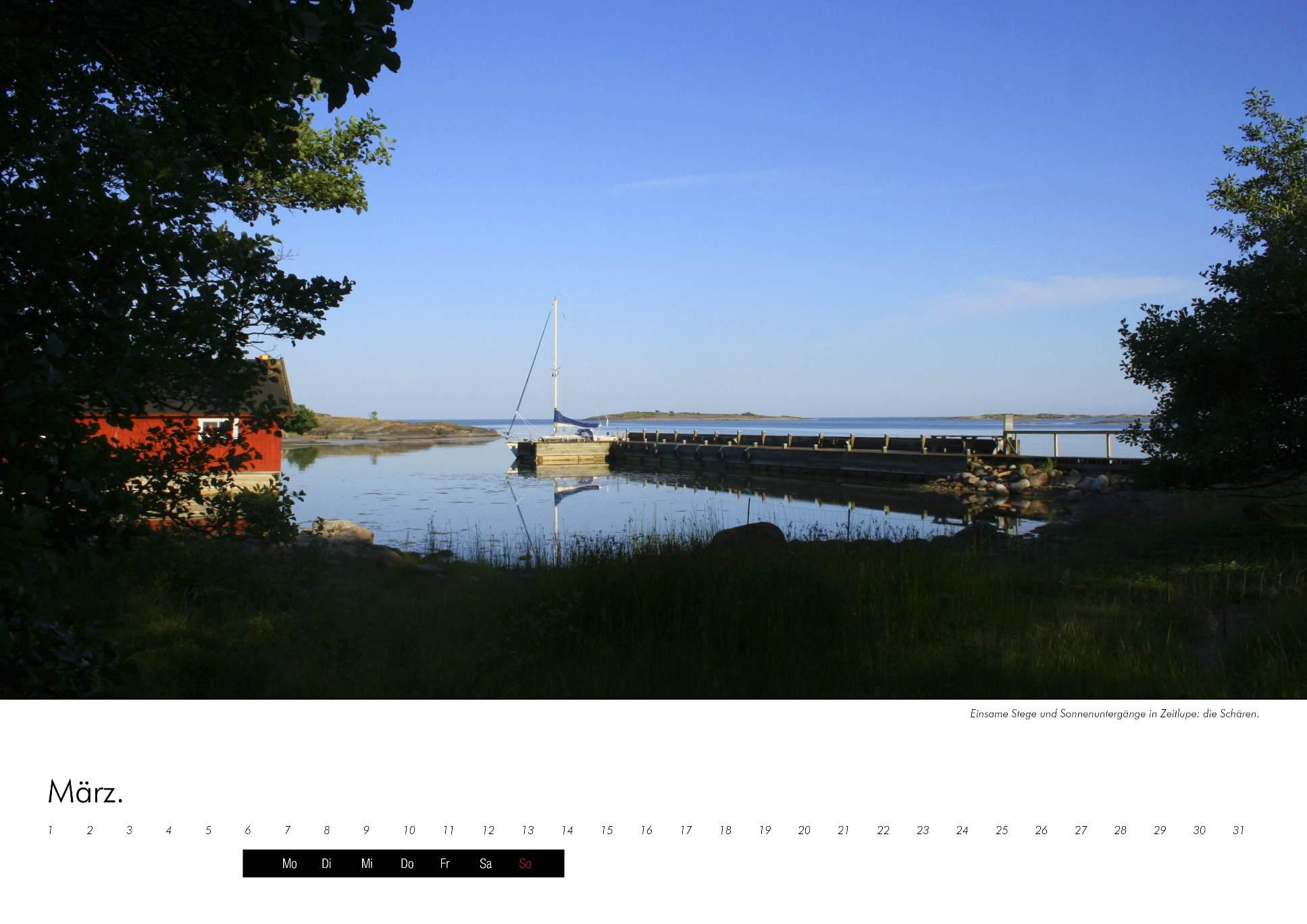 Kalenderbild einer romantischen Bucht in den schwedischen Schären im immerwährenden Kalender